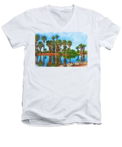 Palm Reflections Sketched Men's V-Neck T-Shirt by Kirt Tisdale