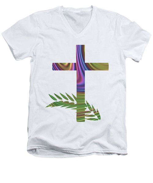 Men's V-Neck T-Shirt featuring the digital art Palm Sunday Cross With Fractal Abstract by Rose Santuci-Sofranko
