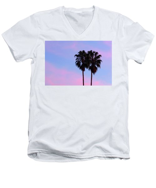 Palm Trees Silhouette At Sunset Men's V-Neck T-Shirt