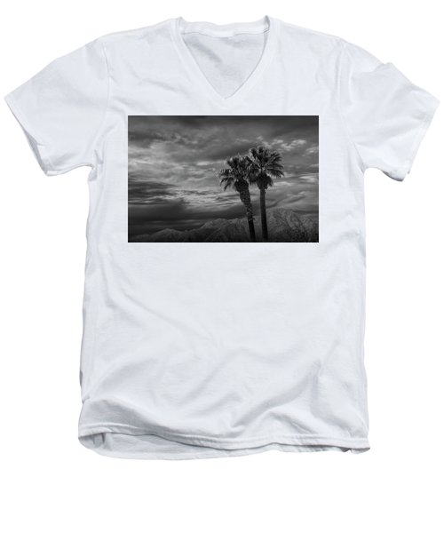 Men's V-Neck T-Shirt featuring the photograph Palm Trees By Borrego Springs In Black And White by Randall Nyhof