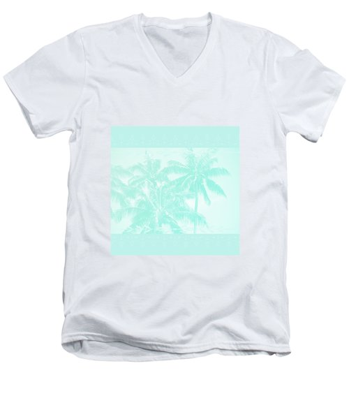 Palm Trees Hawaii Tropical Cyan Men's V-Neck T-Shirt