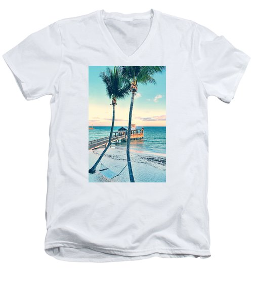Palm View Men's V-Neck T-Shirt by JAMART Photography