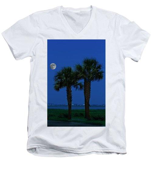Palms And Moon At Morse Park Men's V-Neck T-Shirt by Bill Barber