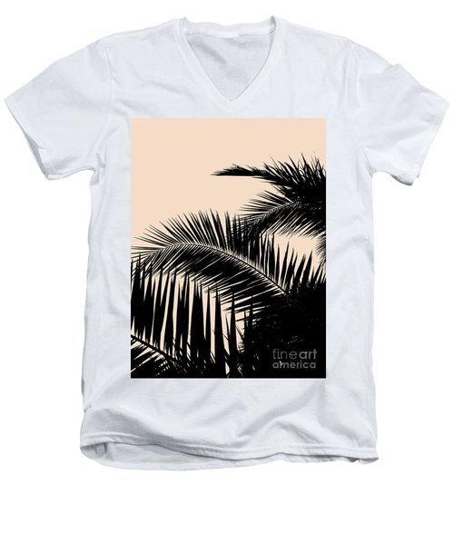 Palms On Pale Pink Men's V-Neck T-Shirt