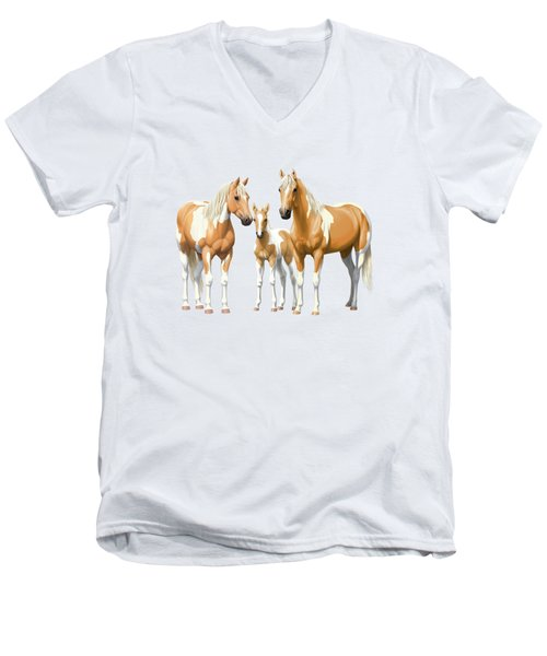 Palomino Paint Horses In Winter Pasture Men's V-Neck T-Shirt