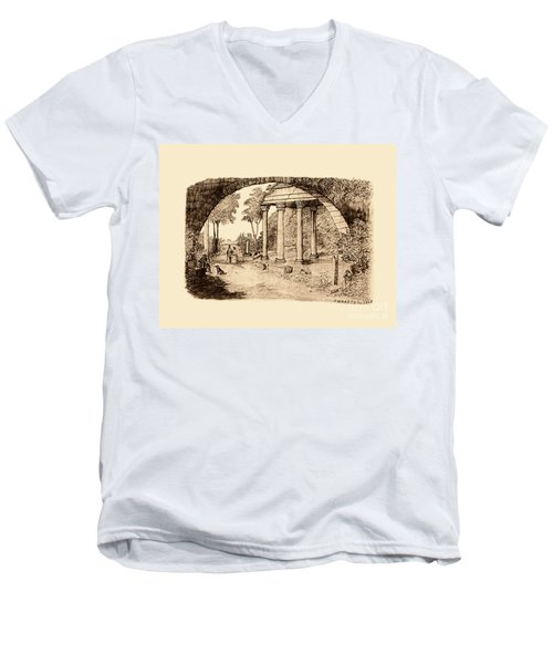 Pan Looking Upon Ruins Men's V-Neck T-Shirt