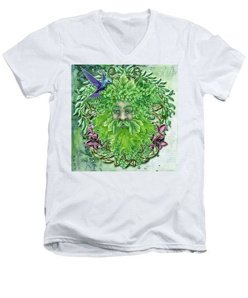Men's V-Neck T-Shirt featuring the digital art Pan The Protector by Angela Hobbs