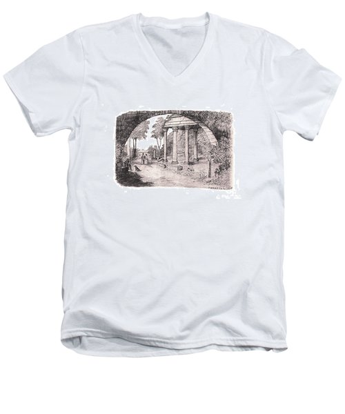 Pan Watching Ruins Of The Past Men's V-Neck T-Shirt