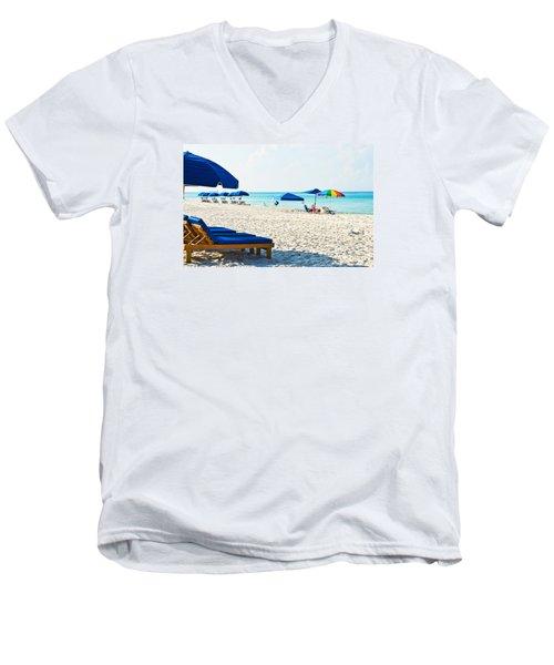 Panama City Beach Florida With Beach Chairs And Umbrellas Men's V-Neck T-Shirt by Vizual Studio