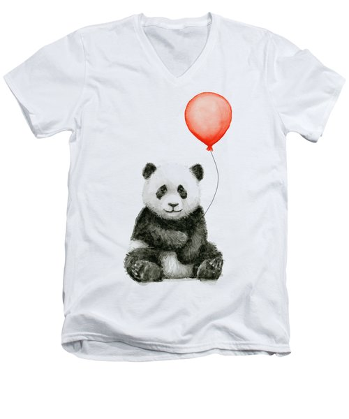 Panda Baby And Red Balloon Nursery Animals Decor Men's V-Neck T-Shirt