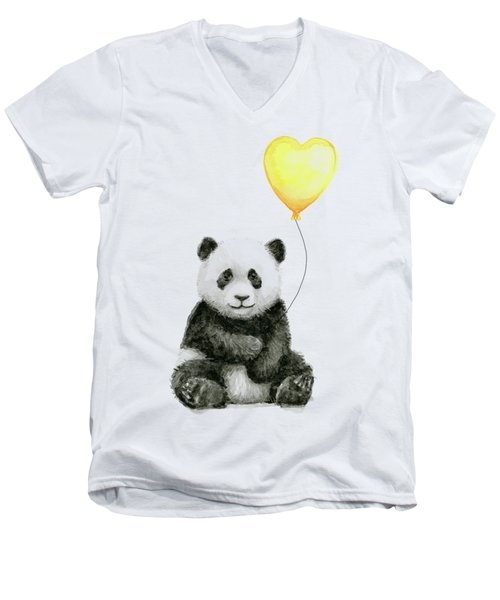 Panda Baby With Yellow Balloon Men's V-Neck T-Shirt