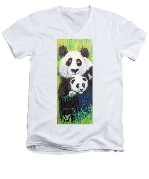 Panda Mother And Cub Men's V-Neck T-Shirt by Ann Michelle Swadener