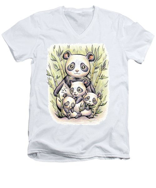 Endangered Animal Giant Panda Men's V-Neck T-Shirt