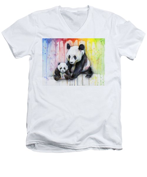 Panda Watercolor Mom And Baby Men's V-Neck T-Shirt by Olga Shvartsur
