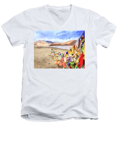 Men's V-Neck T-Shirt featuring the photograph Pangong Tso Lkae by Alexey Stiop