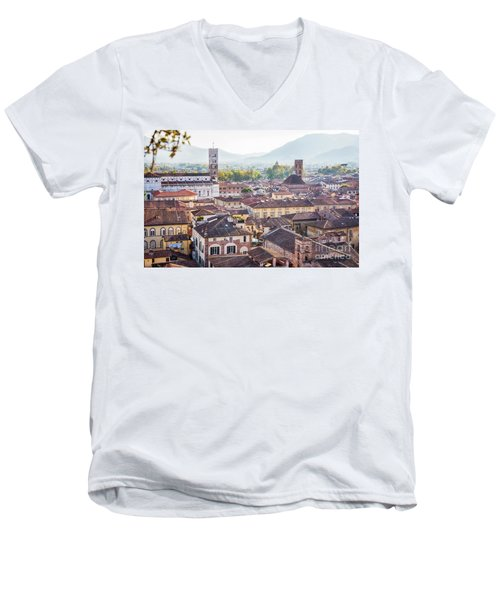 panorama of old town Lucca, Italy Men's V-Neck T-Shirt