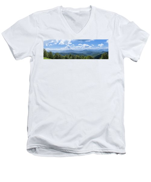 Panorama Of The Foothills Of The Pyrenees In Biert Men's V-Neck T-Shirt by Semmick Photo