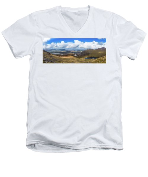 Panorama Of Valleys And Mountains In County Kerry On A Summer Da Men's V-Neck T-Shirt by Semmick Photo