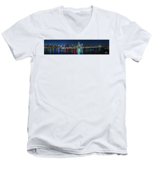 Panoramic Skyline-manhattan Men's V-Neck T-Shirt