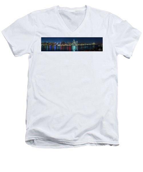 Panoramic Skyline-manhattan Men's V-Neck T-Shirt