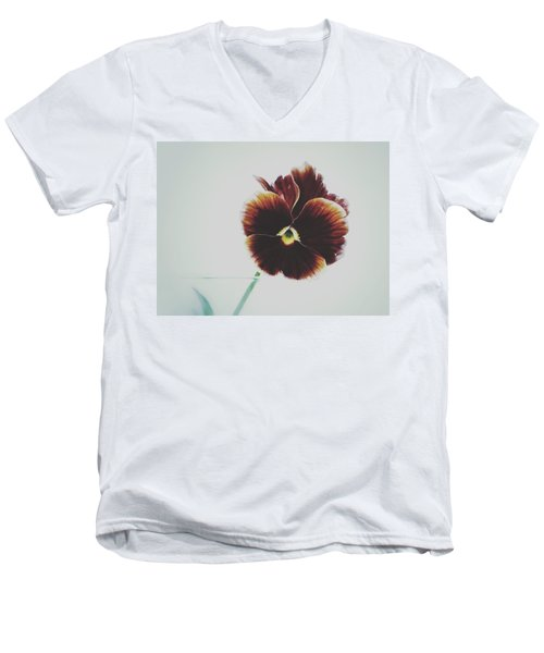 Men's V-Neck T-Shirt featuring the photograph Pansy Face by Karen Stahlros