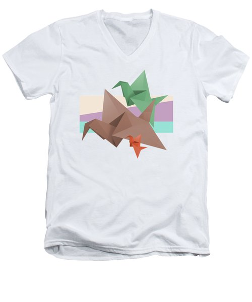 Paper Cranes Men's V-Neck T-Shirt by Absentis Designs