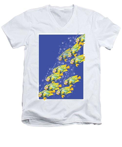 Paper Sculpture Fish Men's V-Neck T-Shirt