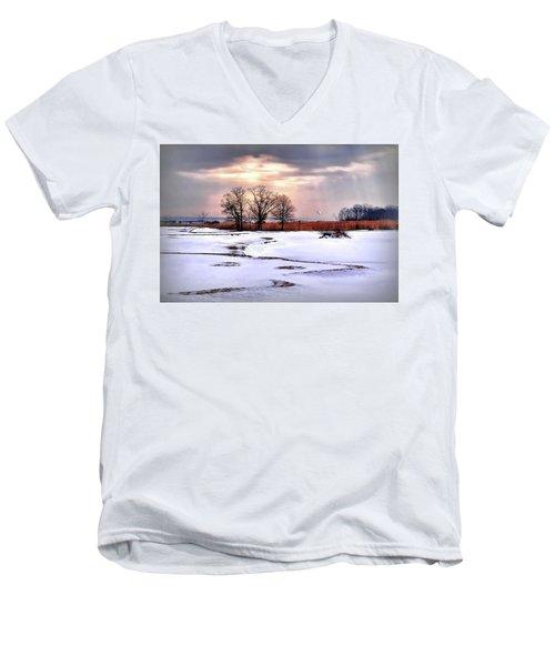 Par For Winter's Course Men's V-Neck T-Shirt by Diana Angstadt