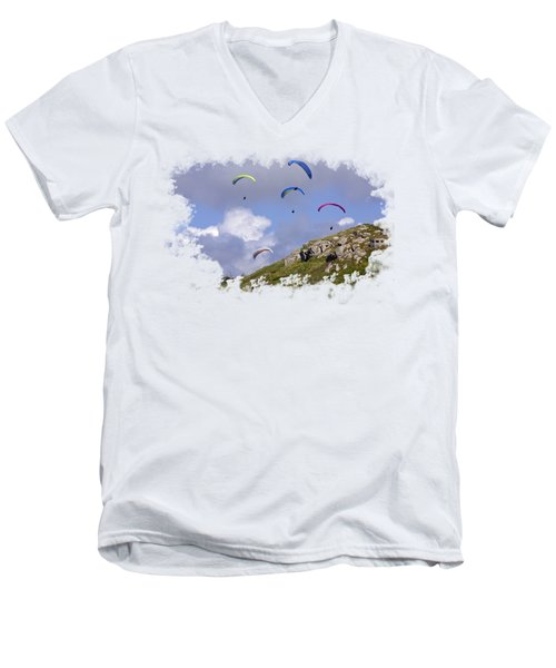 Paragliding Over Sennen Cove On Transparent Background Men's V-Neck T-Shirt by Terri Waters