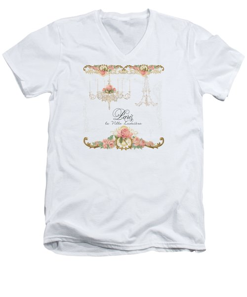 Parchment Paris - City Of Light Rose Chandelier W Plaster Walls Men's V-Neck T-Shirt by Audrey Jeanne Roberts