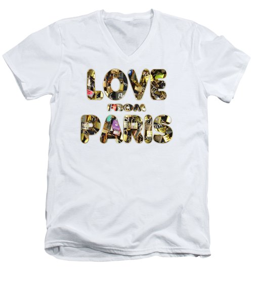Men's V-Neck T-Shirt featuring the painting Paris City Of Love And Lovelocks by Georgeta Blanaru