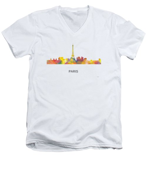 Paris France Skyline Men's V-Neck T-Shirt