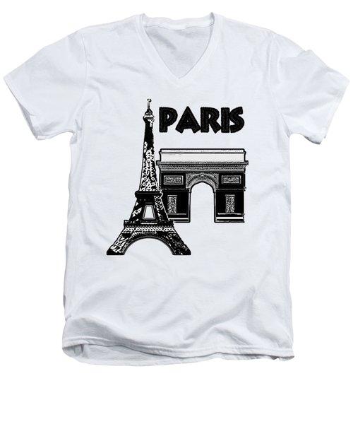 Paris Graphique Men's V-Neck T-Shirt by Pharris Art