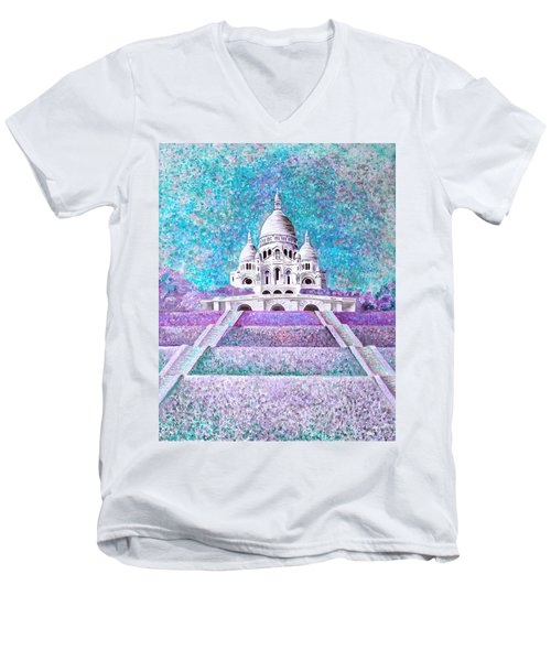 Men's V-Neck T-Shirt featuring the mixed media Paris II by Elizabeth Lock