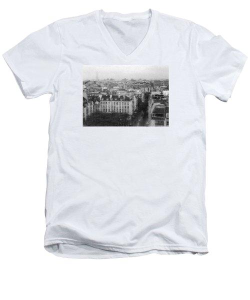 Paris In The Rain  Men's V-Neck T-Shirt by Dubi Roman