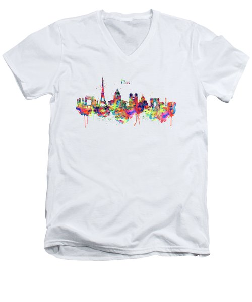 Paris Skyline 2 Men's V-Neck T-Shirt by Marian Voicu