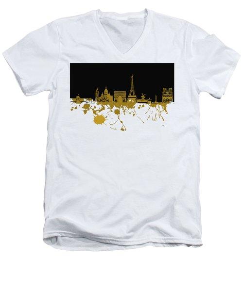 Paris Skyline  Men's V-Neck T-Shirt