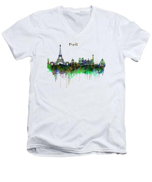 Paris Skyline Watercolor Men's V-Neck T-Shirt