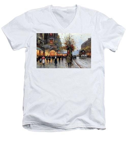 Paris Street Scene Men's V-Neck T-Shirt