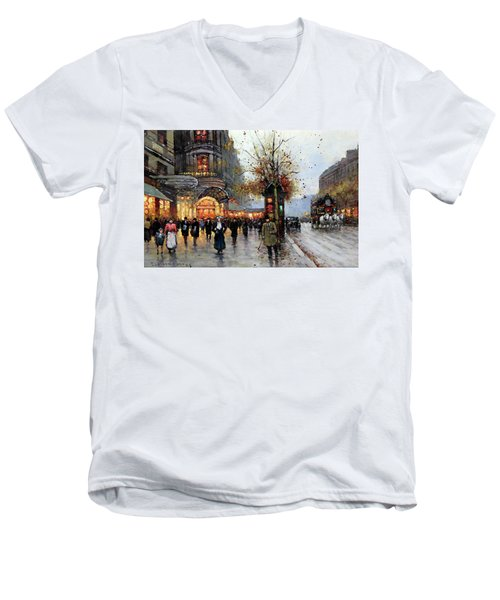Paris Street Scene Men's V-Neck T-Shirt