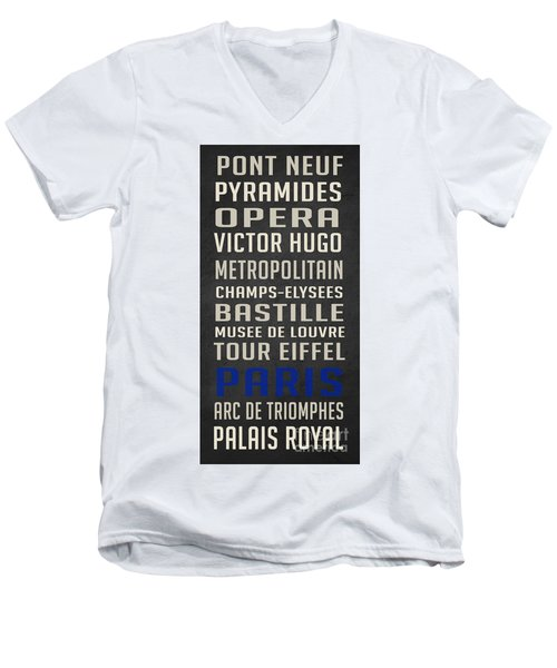 Paris Subway Stations Vintage Men's V-Neck T-Shirt by Edward Fielding