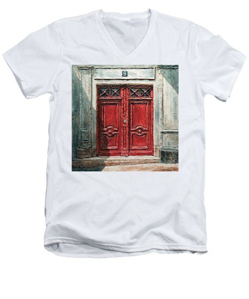 Parisian Door No.9 Men's V-Neck T-Shirt by Joey Agbayani