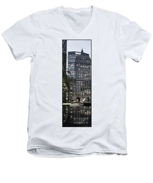 Men's V-Neck T-Shirt featuring the photograph Park Avenue Met Life Nyc by Juergen Held