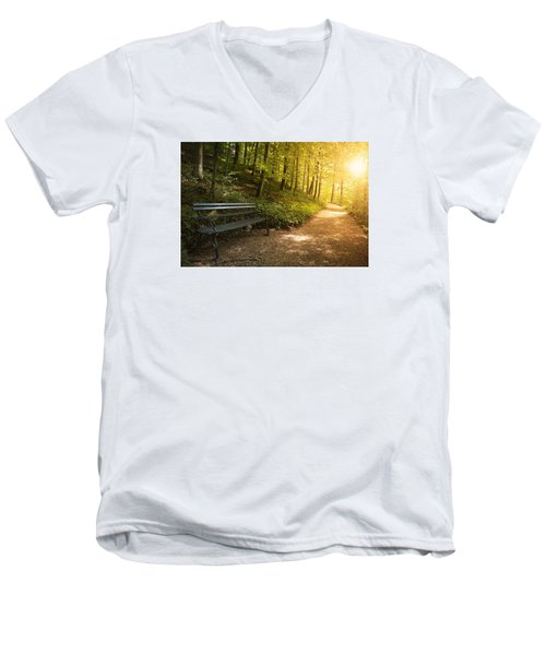 Men's V-Neck T-Shirt featuring the photograph Park Bench In Fall by Chevy Fleet