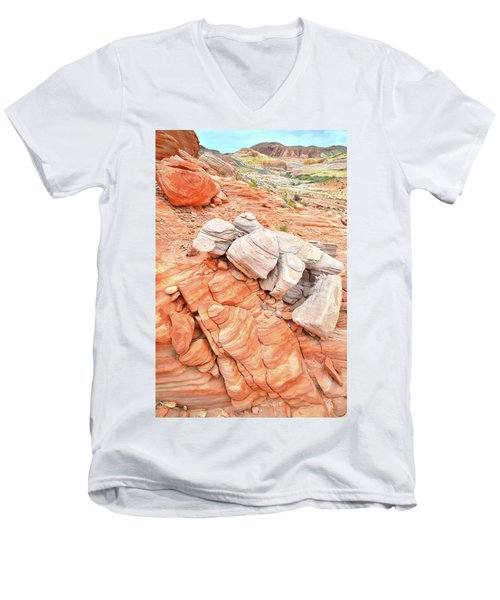 Men's V-Neck T-Shirt featuring the photograph Park Road Sandstone In Valley Of Fire by Ray Mathis