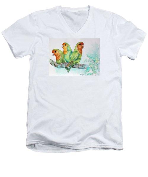 Parrots Trio Men's V-Neck T-Shirt by Inese Poga