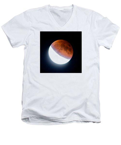 Men's V-Neck T-Shirt featuring the photograph Partial Super Moon Lunar Eclipse by Todd Kreuter