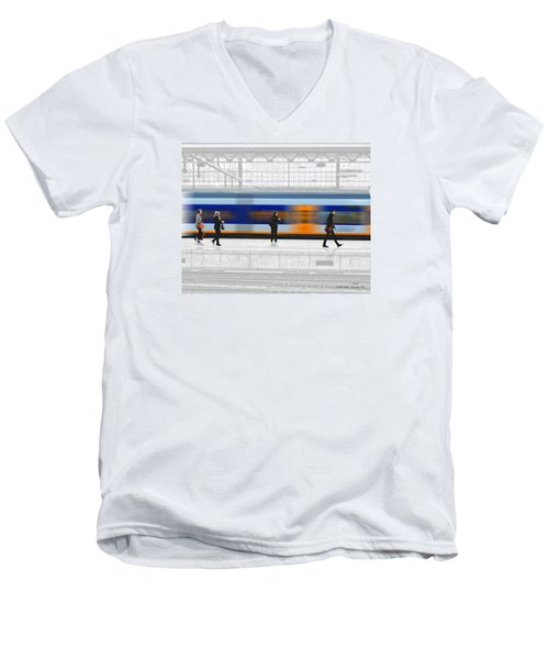 Passing Train Men's V-Neck T-Shirt by Pedro L Gili