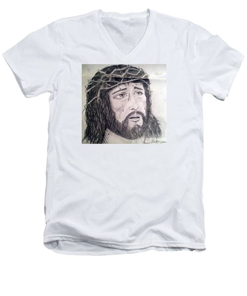 Men's V-Neck T-Shirt featuring the painting Passion Of Christ by Brindha Naveen