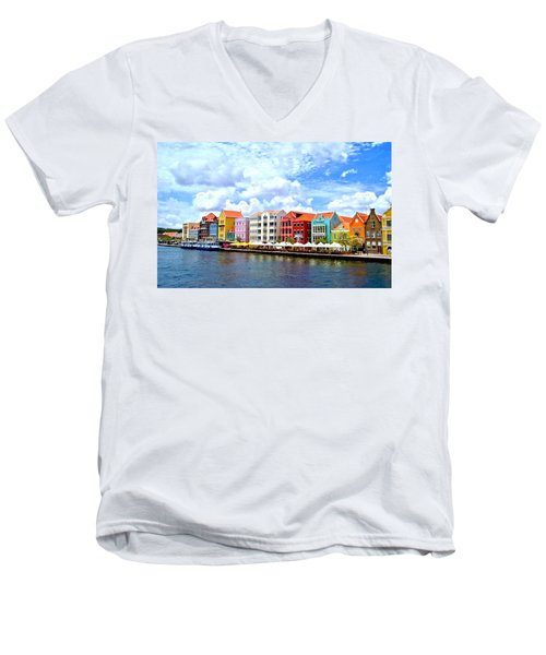 Pastel Building Coastline Of Caribbean Men's V-Neck T-Shirt